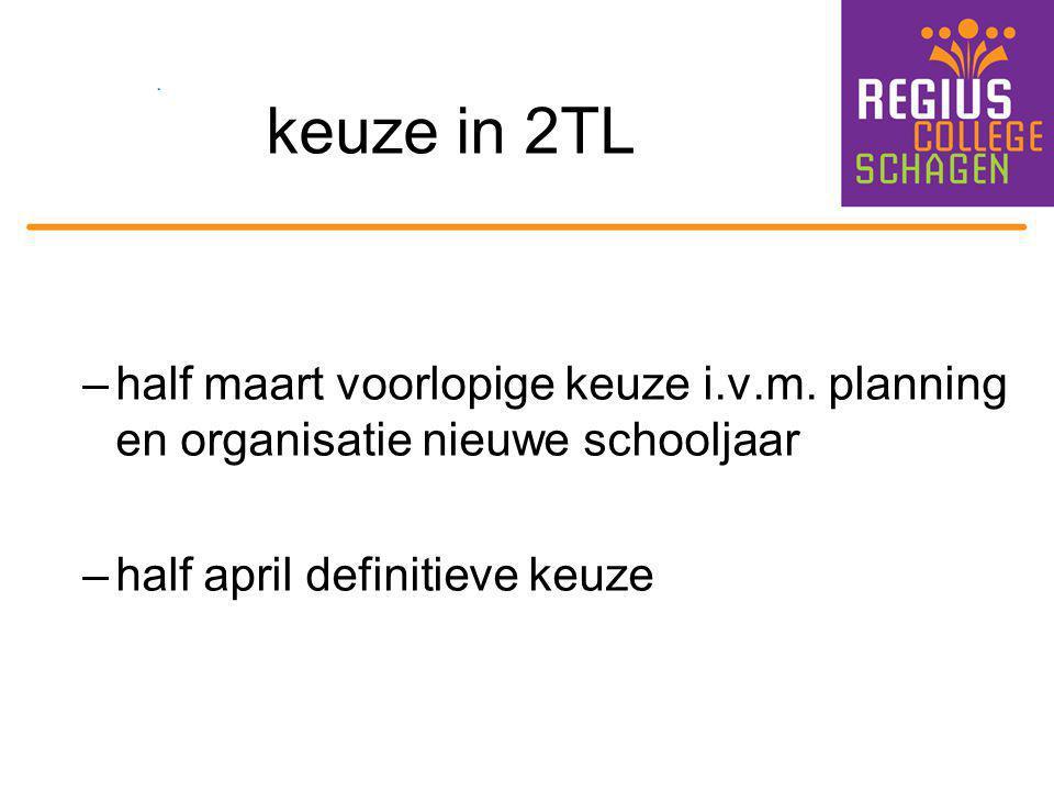 keuze in 2TL –half maart voorlopige keuze i.v.m. planning en organisatie nieuwe schooljaar –half april definitieve keuze