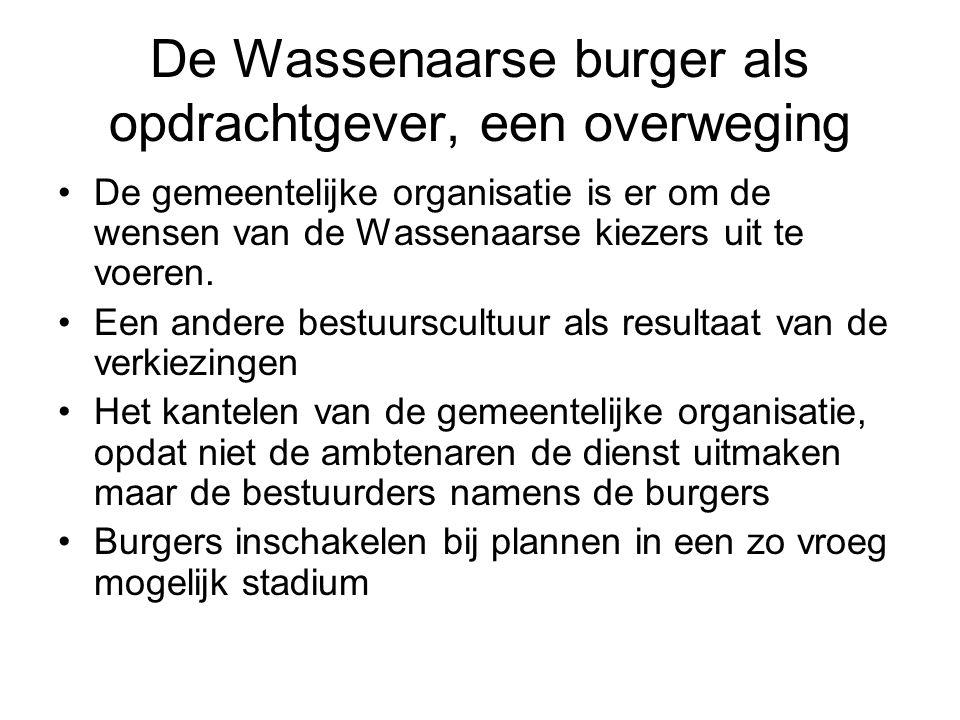 De Wassenaarse burger als opdrachtgever, een overweging De gemeentelijke organisatie is er om de wensen van de Wassenaarse kiezers uit te voeren. Een