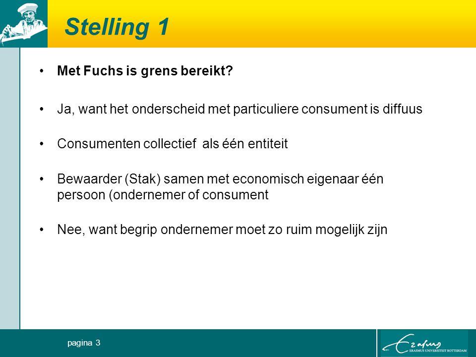 Stelling 1 Met Fuchs is grens bereikt? Ja, want het onderscheid met particuliere consument is diffuus Consumenten collectief als één entiteit Bewaarde