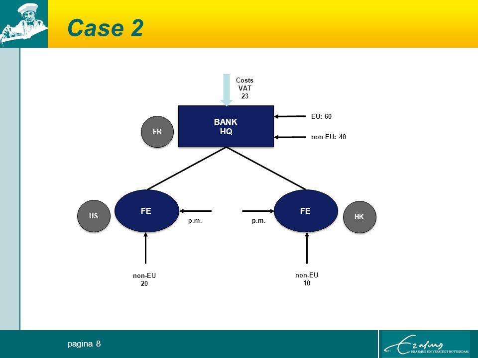 Case 2 BANK HQ BANK HQ EU: 60 non-EU: 40 Costs VAT 23 FR HK US FE non-EU 20 non-EU 10 p.m. pagina 8