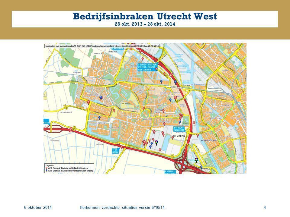 6 oktober 2014Herkennen verdachte situaties versie 6/10/144 Bedrijfsinbraken Utrecht West 28 okt. 2013 – 28 okt. 2014