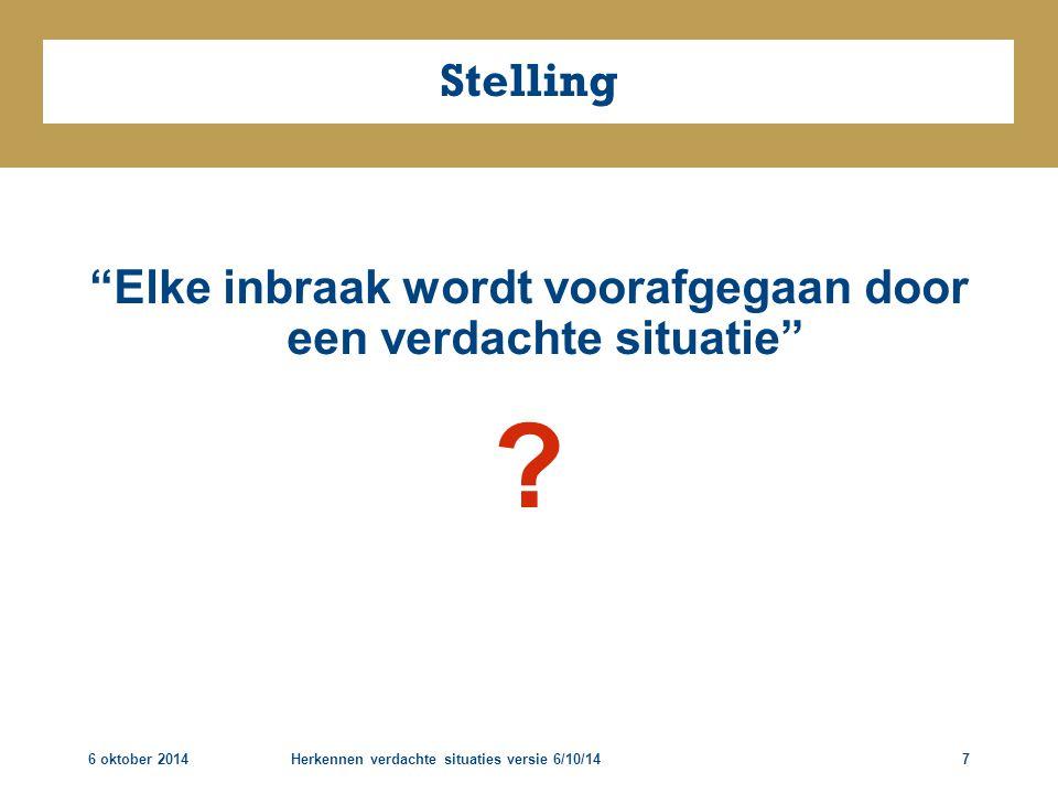 """6 oktober 2014Herkennen verdachte situaties versie 6/10/147 Stelling """"Elke inbraak wordt voorafgegaan door een verdachte situatie"""" ?"""