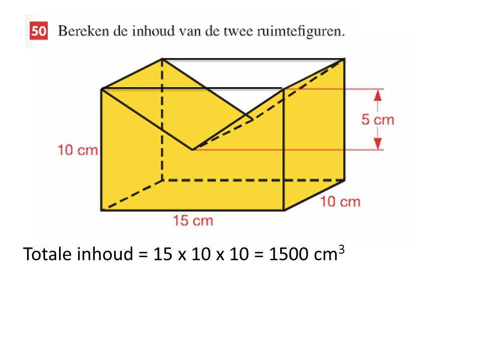 Totale inhoud = 15 x 10 x 10 = 1500 cm 3