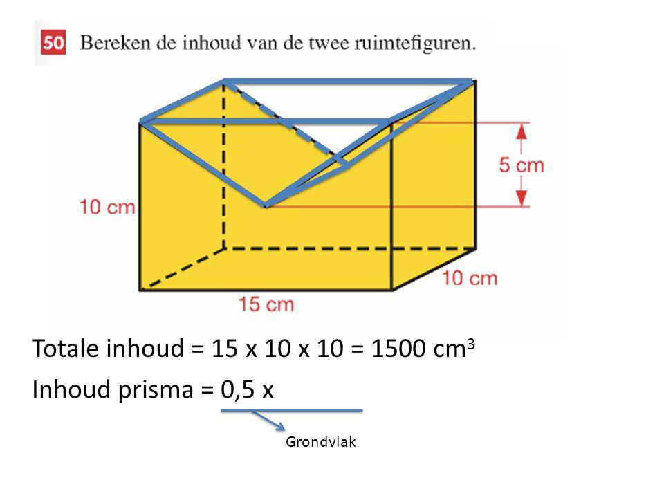Totale inhoud = 15 x 10 x 10 = 1500 cm 3 Inhoud prisma = 0,5 x Grondvlak