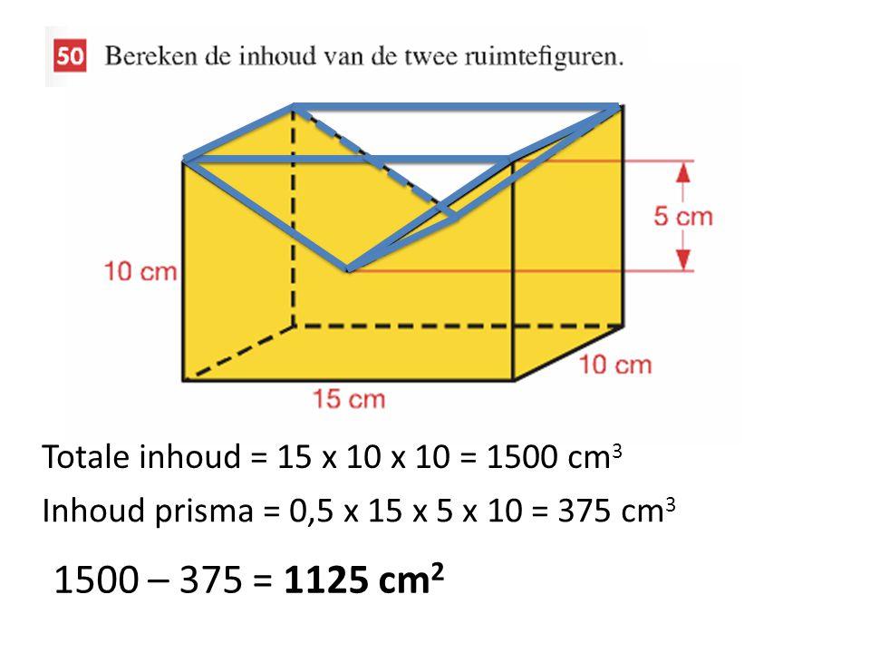 Totale inhoud = 15 x 10 x 10 = 1500 cm 3 Inhoud prisma = 0,5 x 15 x 5 x 10 = 375 cm 3 1500 – 375 = 1125 cm 2