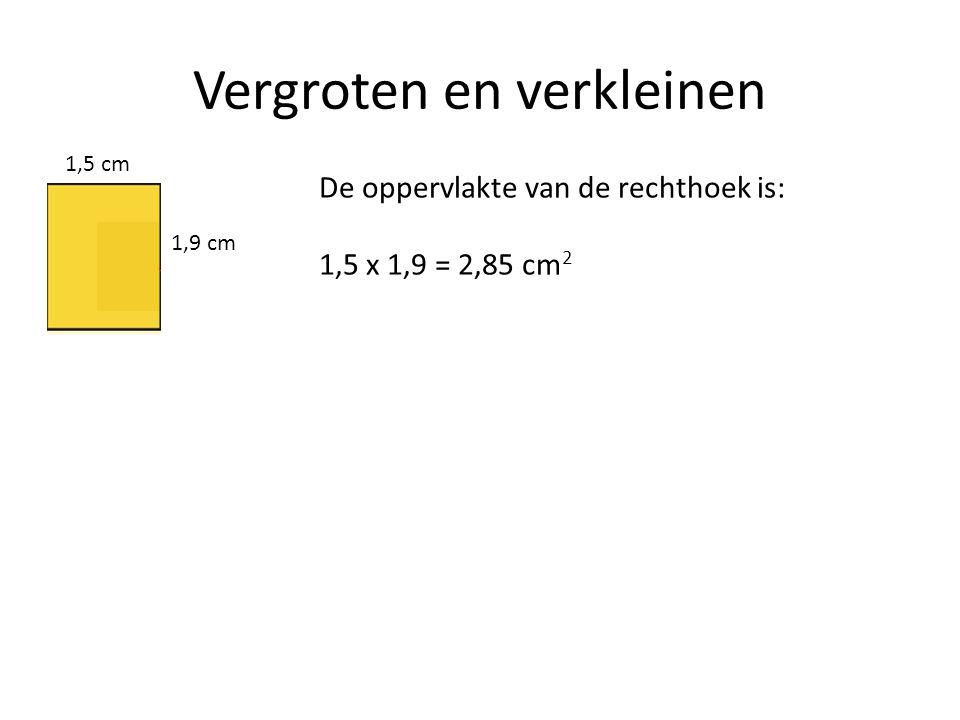 Vergroten en verkleinen 1,5 cm 1,9 cm De oppervlakte van de rechthoek is: 1,5 x 1,9 = 2,85 cm 2