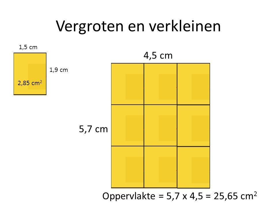 Vergroten en verkleinen 1,5 cm 1,9 cm 4,5 cm 5,7 cm 2,85 cm 2 Oppervlakte = 5,7 x 4,5 = 25,65 cm 2
