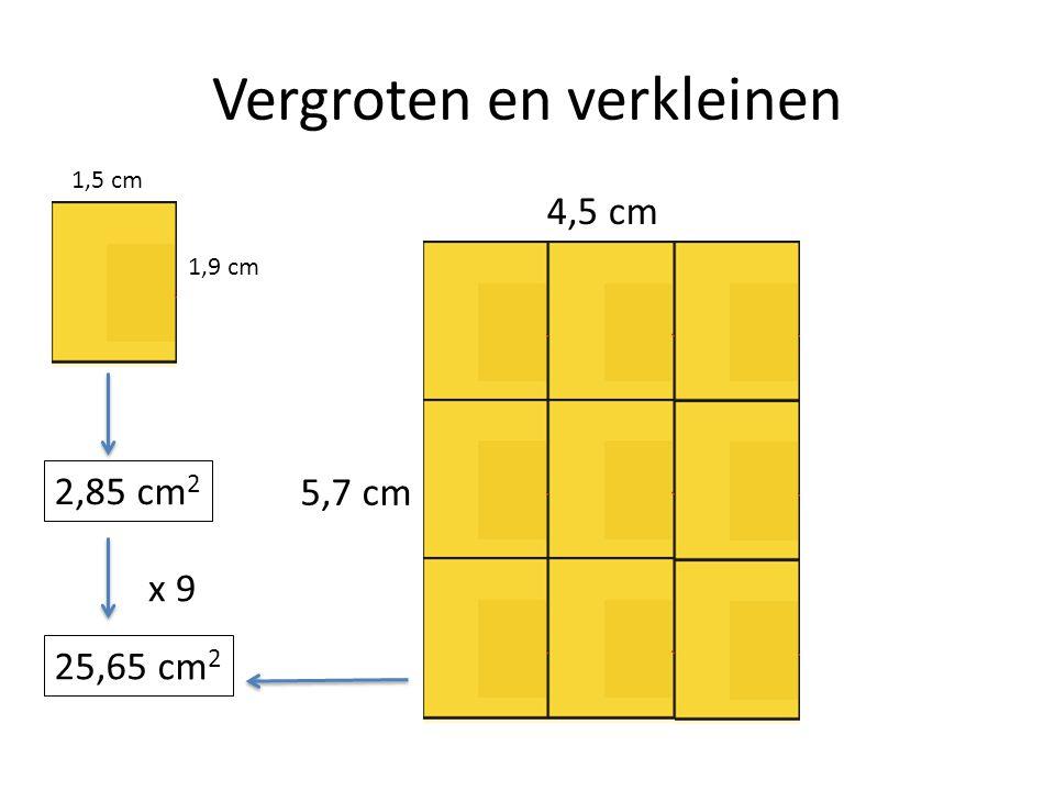 Vergroten en verkleinen 1,5 cm 1,9 cm 4,5 cm 5,7 cm 25,65 cm 2 2,85 cm 2 x 9