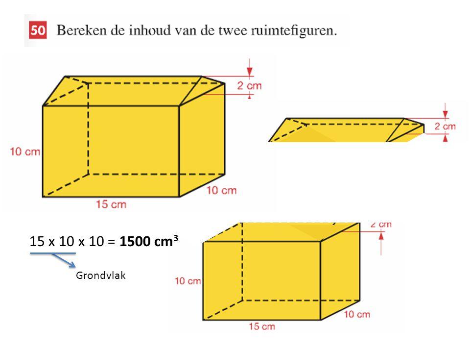 15 x 10 x 10 = 1500 cm 3 Grondvlak