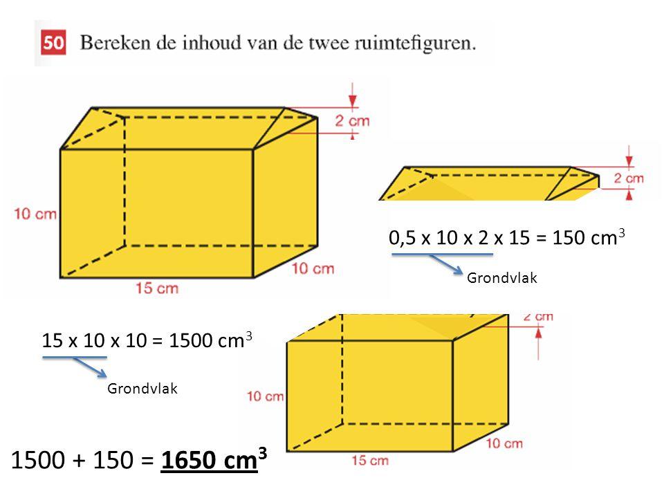 0,5 x 10 x 2 x 15 = 150 cm 3 Grondvlak 15 x 10 x 10 = 1500 cm 3 Grondvlak 1500 + 150 = 1650 cm 3