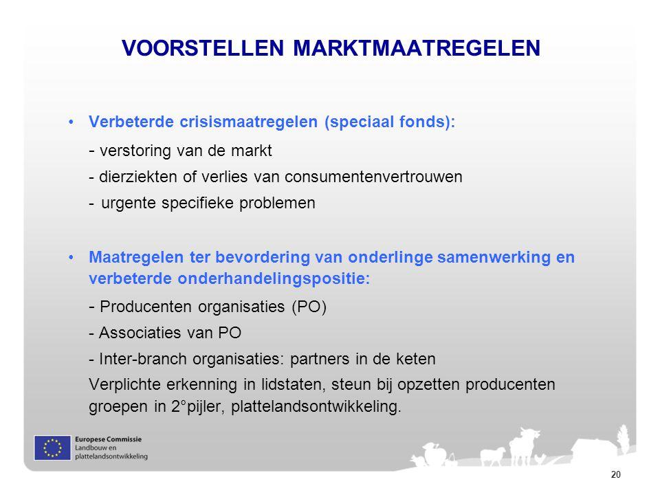 20 VOORSTELLEN MARKTMAATREGELEN Verbeterde crisismaatregelen (speciaal fonds): - verstoring van de markt - dierziekten of verlies van consumentenvertr