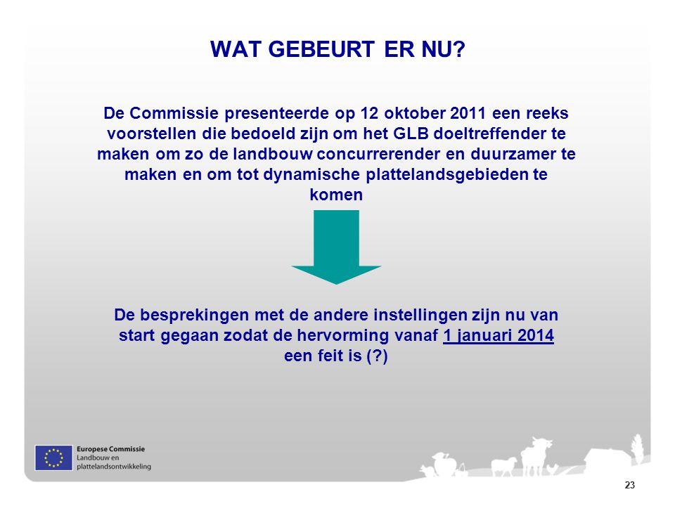23 WAT GEBEURT ER NU? De Commissie presenteerde op 12 oktober 2011 een reeks voorstellen die bedoeld zijn om het GLB doeltreffender te maken om zo de