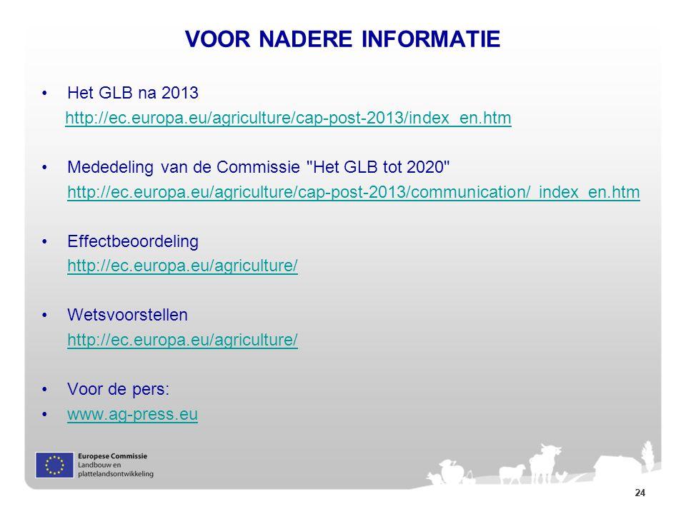 24 VOOR NADERE INFORMATIE Het GLB na 2013 http://ec.europa.eu/agriculture/cap-post-2013/index_en.htm Mededeling van de Commissie