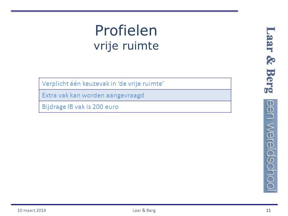 Profielen vrije ruimte 10 maart 2014Laar & Berg11 Verplicht één keuzevak in 'de vrije ruimte' Extra vak kan worden aangevraagd Bijdrage IB vak is 200 euro