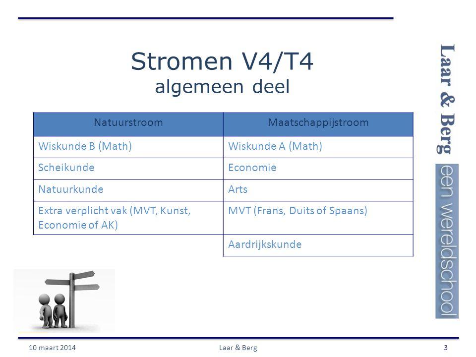Stromen V4/T4 algemeen deel 10 maart 2014Laar & Berg3 NatuurstroomMaatschappijstroom Wiskunde B (Math)Wiskunde A (Math) ScheikundeEconomie NatuurkundeArts Extra verplicht vak (MVT, Kunst, Economie of AK) MVT (Frans, Duits of Spaans) Aardrijkskunde