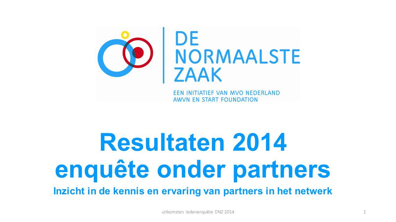 Resultaten 2014 enquête onder partners Inzicht in de kennis en ervaring van partners in het netwerk uitkomsten ledenenquête DNZ 20141