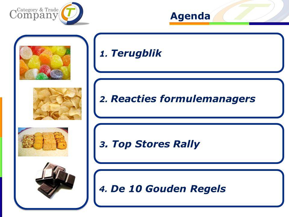 Agenda 2. Reacties formulemanagers 3. Top Stores Rally 4. De 10 Gouden Regels 1. Terugblik