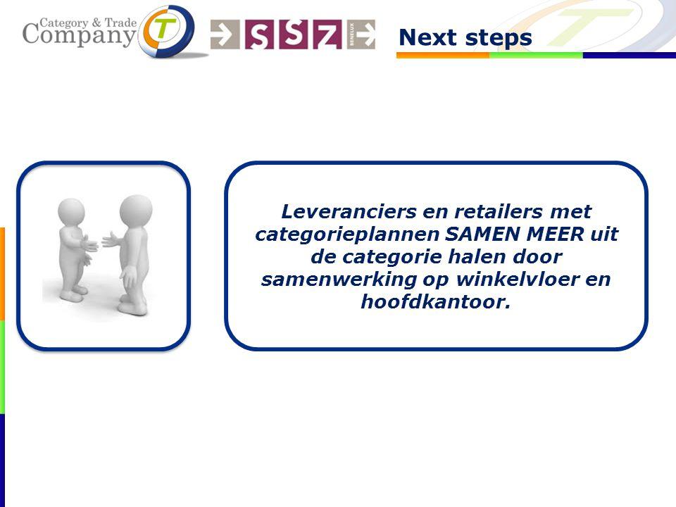 Next steps Leveranciers en retailers met categorieplannen SAMEN MEER uit de categorie halen door samenwerking op winkelvloer en hoofdkantoor.