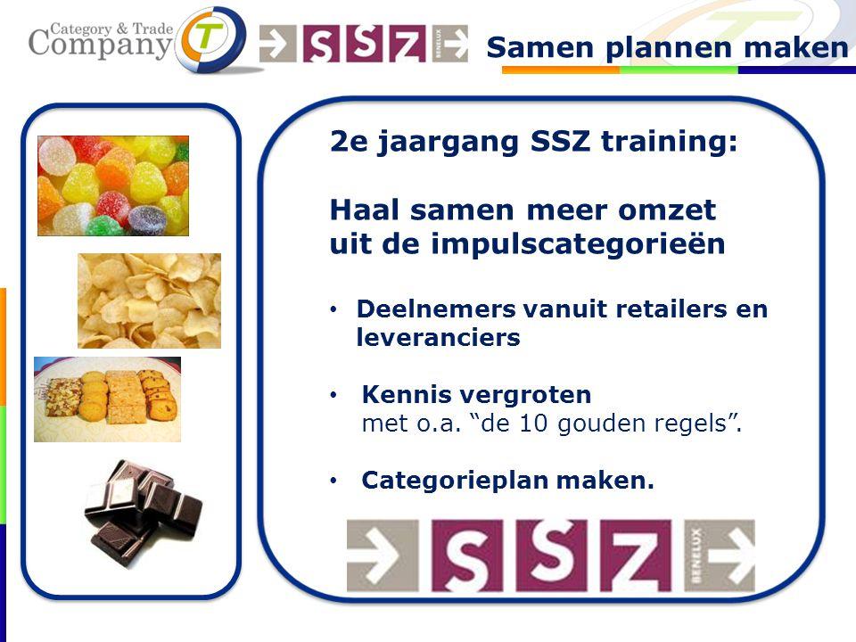 """2e jaargang SSZ training: Haal samen meer omzet uit de impulscategorieën Deelnemers vanuit retailers en leveranciers Kennis vergroten met o.a. """"de 10"""