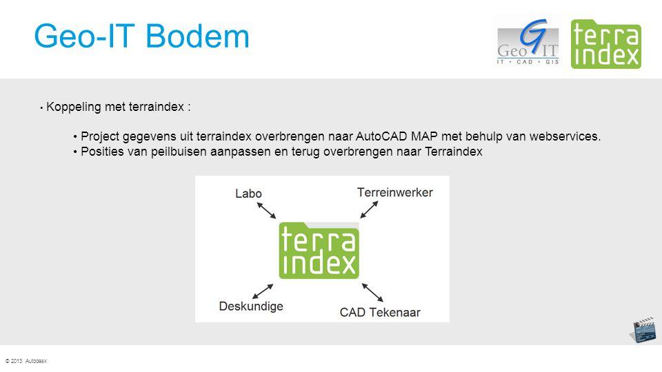 © 2013 Autodesk Geo-IT Bodem Koppeling met terraindex : Project gegevens uit terraindex overbrengen naar AutoCAD MAP met behulp van webservices.