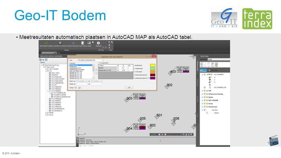 © 2013 Autodesk Geo-IT Bodem Meetresultaten automatisch plaatsen in AutoCAD MAP als AutoCAD tabel.