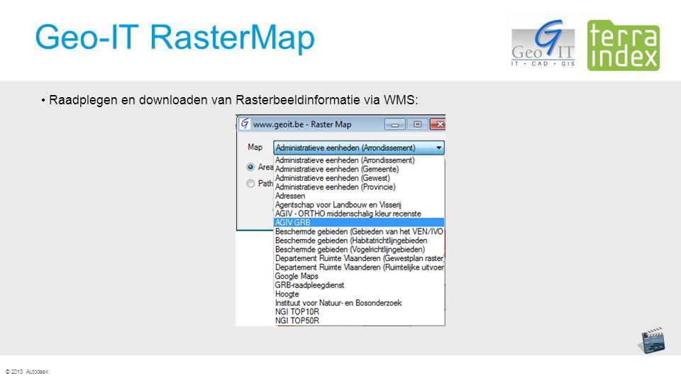 © 2013 Autodesk Geo-IT RasterMap Raadplegen en downloaden van Rasterbeeldinformatie via WMS: