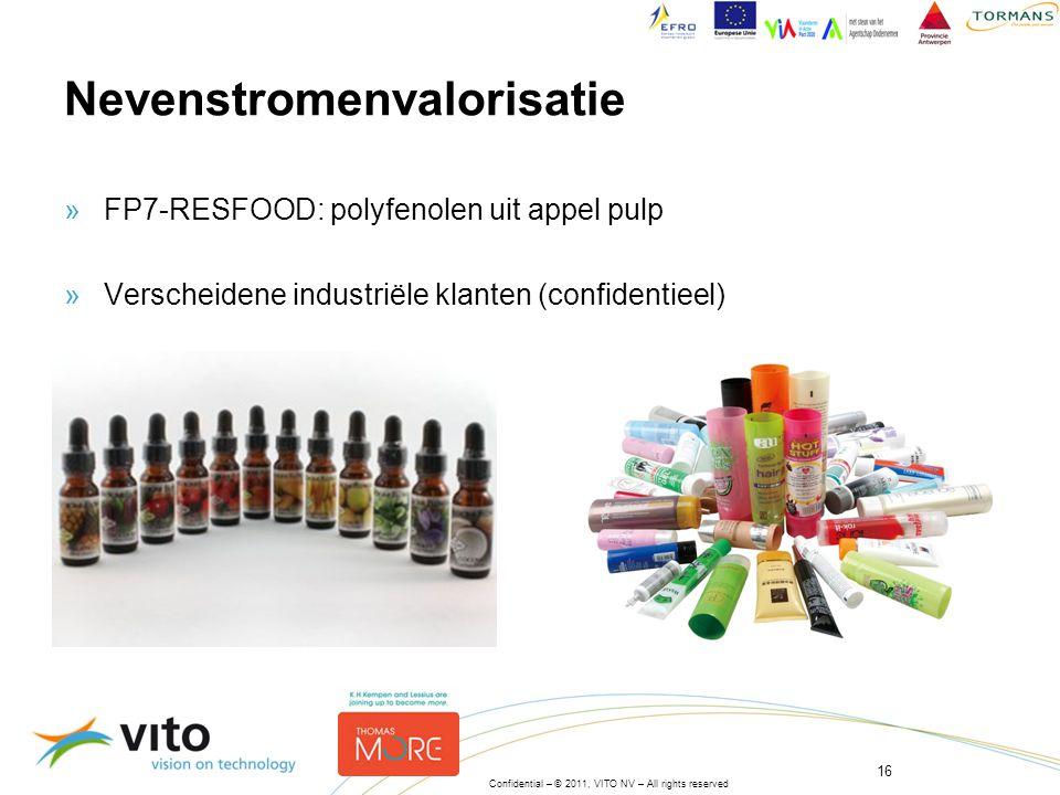16 Confidential – © 2011, VITO NV – All rights reserved Nevenstromenvalorisatie »FP7-RESFOOD: polyfenolen uit appel pulp »Verscheidene industriële klanten (confidentieel)