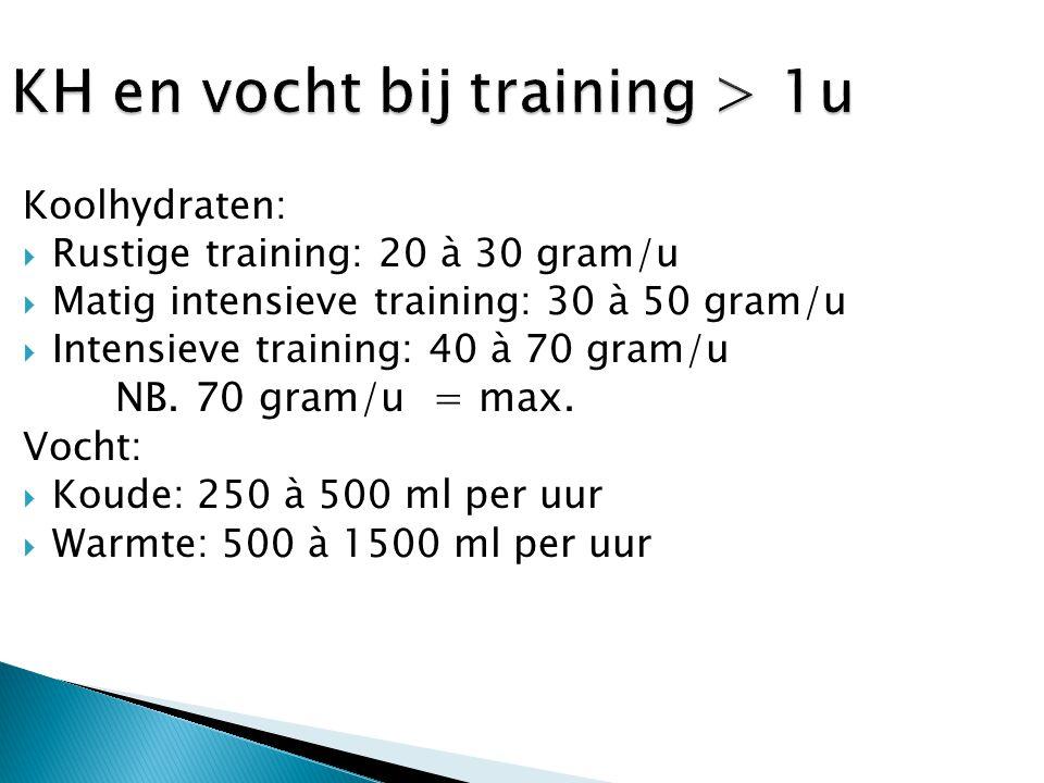 Koolhydraten:  Rustige training: 20 à 30 gram/u  Matig intensieve training: 30 à 50 gram/u  Intensieve training: 40 à 70 gram/u NB. 70 gram/u = max