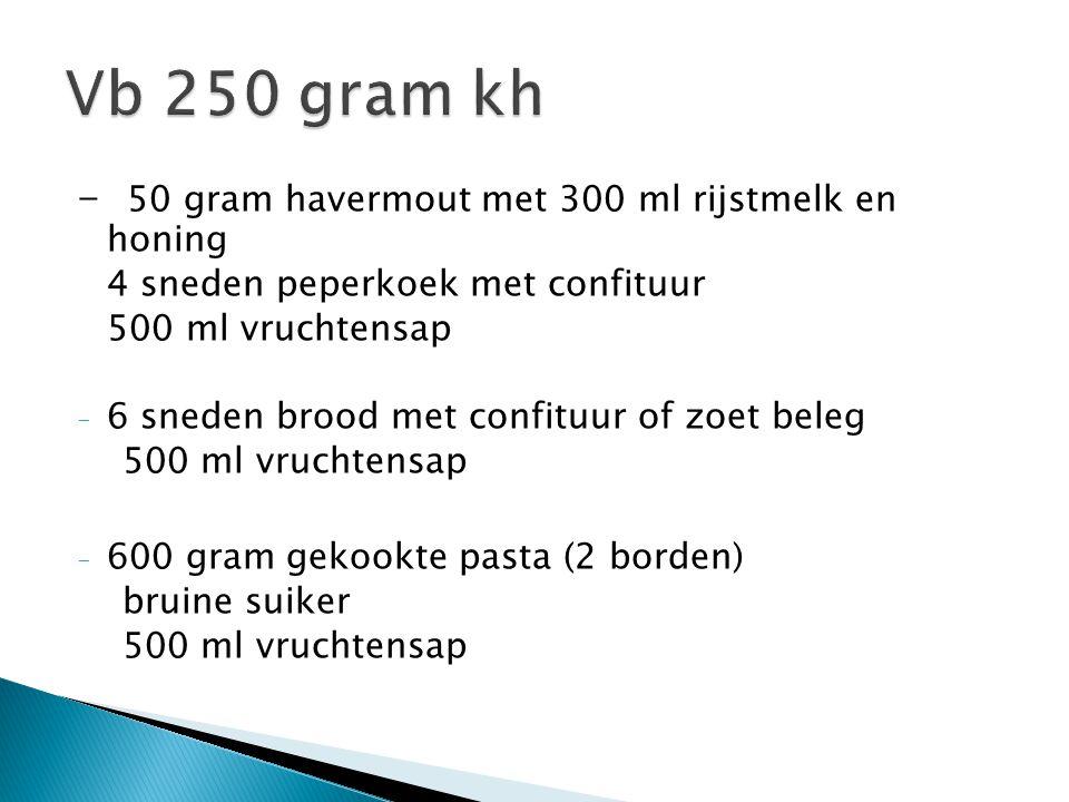 - 50 gram havermout met 300 ml rijstmelk en honing 4 sneden peperkoek met confituur 500 ml vruchtensap - 6 sneden brood met confituur of zoet beleg 50