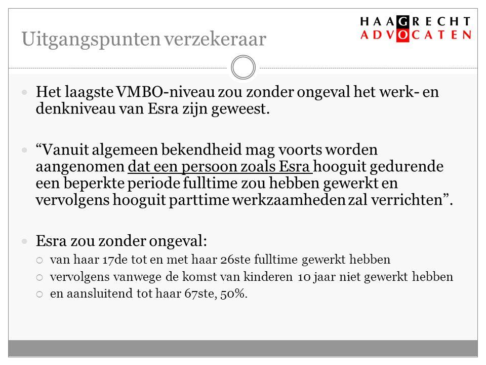 Uitgangspunten verzekeraar Het laagste VMBO-niveau zou zonder ongeval het werk- en denkniveau van Esra zijn geweest.