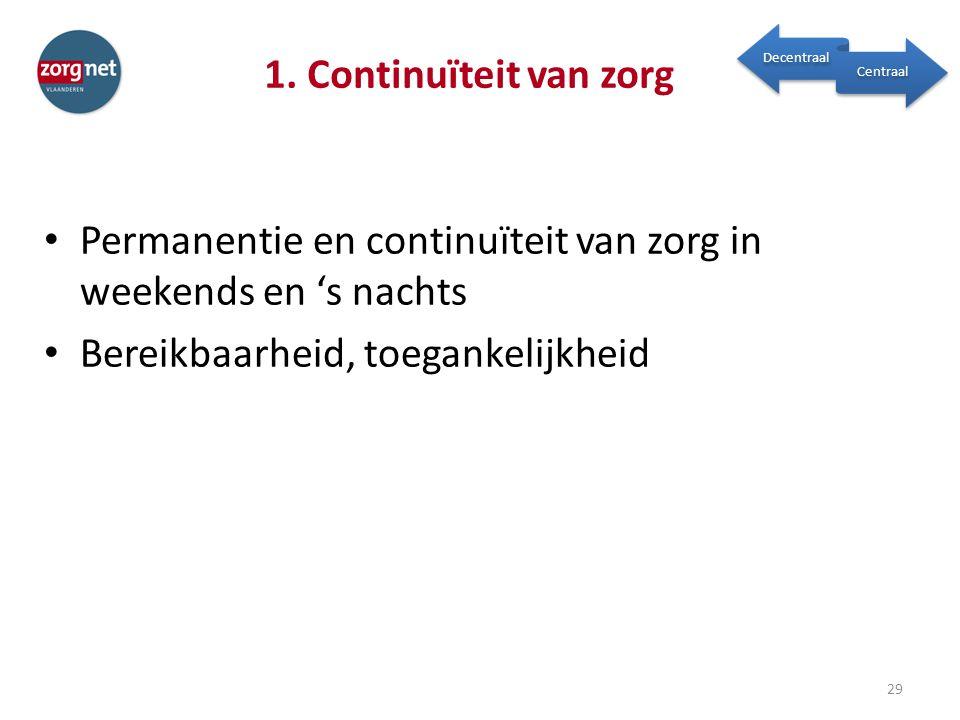 1. Continuïteit van zorg Permanentie en continuïteit van zorg in weekends en 's nachts Bereikbaarheid, toegankelijkheid 29 Decentraal Centraal