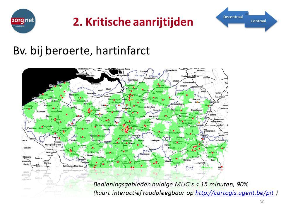 2. Kritische aanrijtijden Bv. bij beroerte, hartinfarct 30 Decentraal Centraal Bedieningsgebieden huidige MUG's < 15 minuten, 90% (kaart interactief r