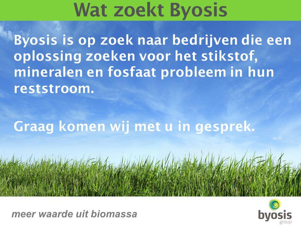 Byosis is op zoek naar bedrijven die een oplossing zoeken voor het stikstof, mineralen en fosfaat probleem in hun reststroom.