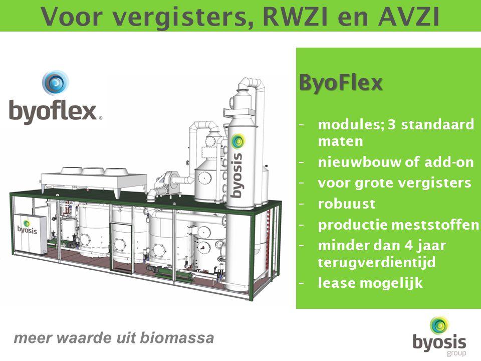 ByoFlex - modules; 3 standaard maten - nieuwbouw of add-on - voor grote vergisters - robuust - productie meststoffen - minder dan 4 jaar terugverdientijd - lease mogelijk Voor vergisters, RWZI en AVZI meer waarde uit biomassa