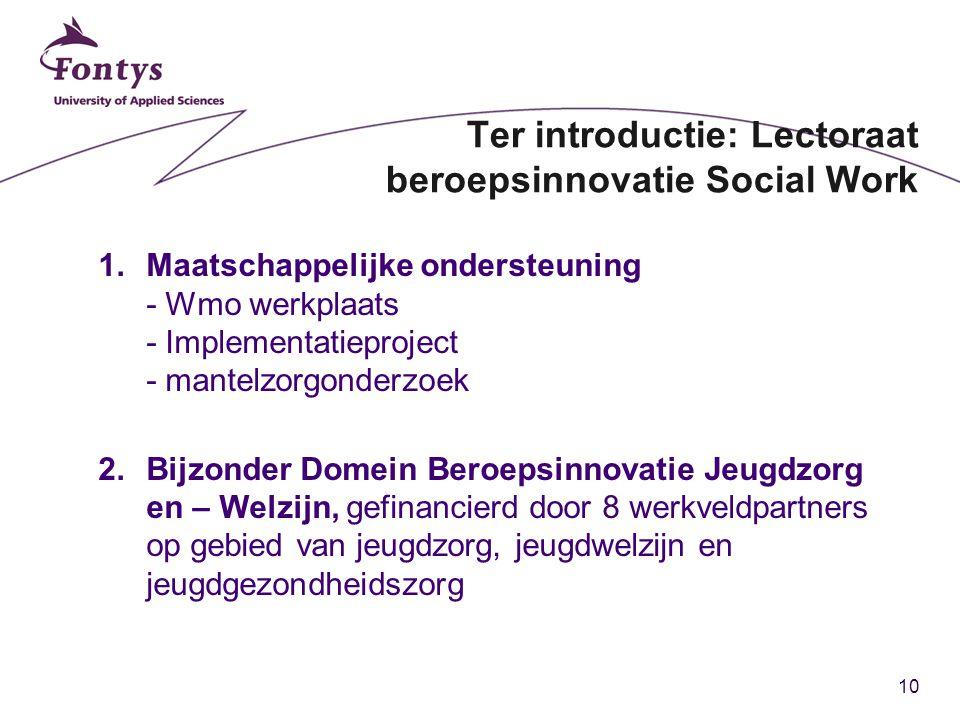 10 Ter introductie: Lectoraat beroepsinnovatie Social Work 1.Maatschappelijke ondersteuning - Wmo werkplaats - Implementatieproject - mantelzorgonderz