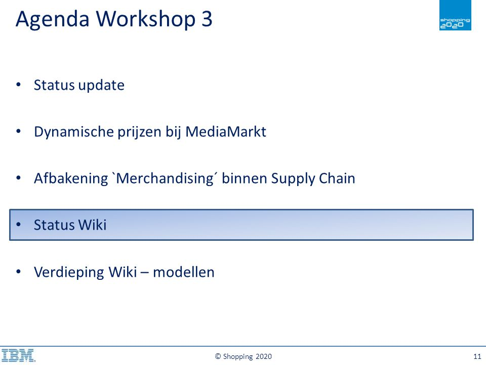 Agenda Workshop 3 © Shopping 202011 Status update Dynamische prijzen bij MediaMarkt Afbakening `Merchandising´ binnen Supply Chain Status Wiki Verdiep