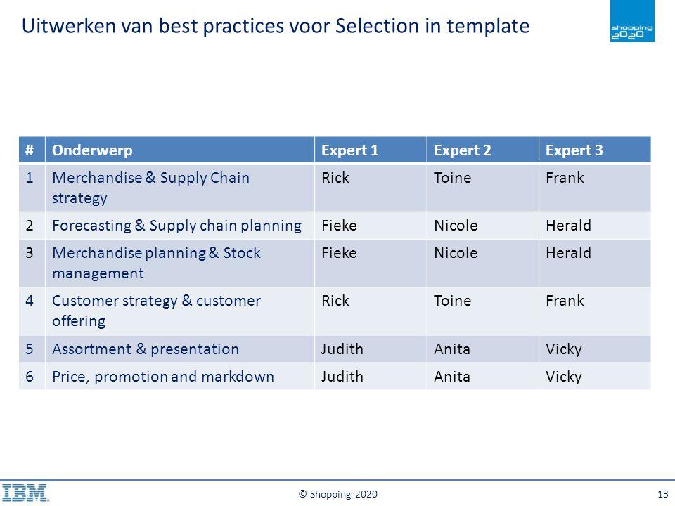 Uitwerken van best practices voor Selection in template © Shopping 202013 #OnderwerpExpert 1Expert 2Expert 3 1Merchandise & Supply Chain strategy Rick