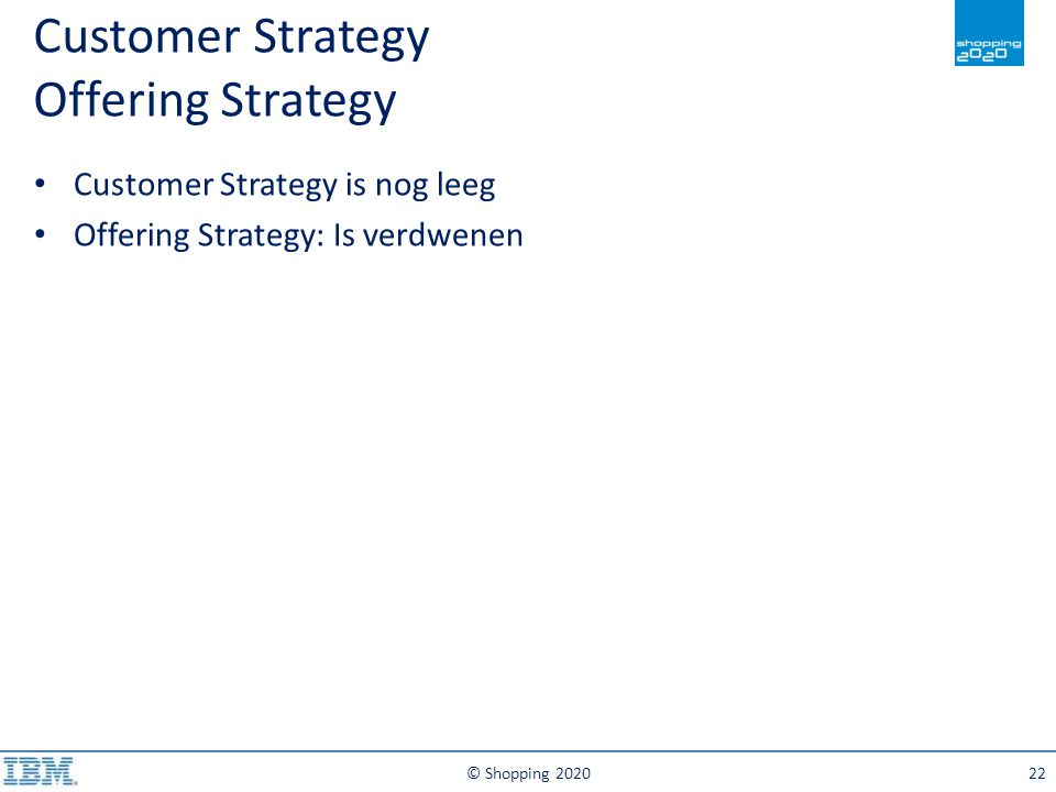 © Shopping 202022 Customer Strategy is nog leeg Offering Strategy: Is verdwenen Customer Strategy Offering Strategy