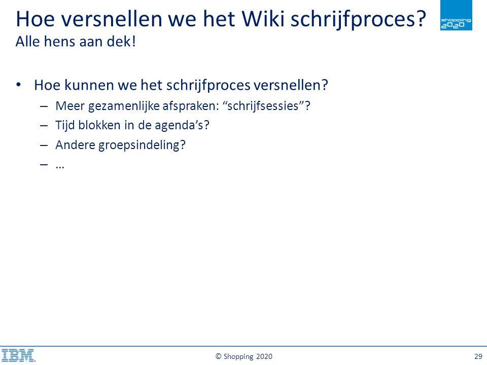 Hoe versnellen we het Wiki schrijfproces? Alle hens aan dek! © Shopping 202029 Hoe kunnen we het schrijfproces versnellen? – Meer gezamenlijke afsprak