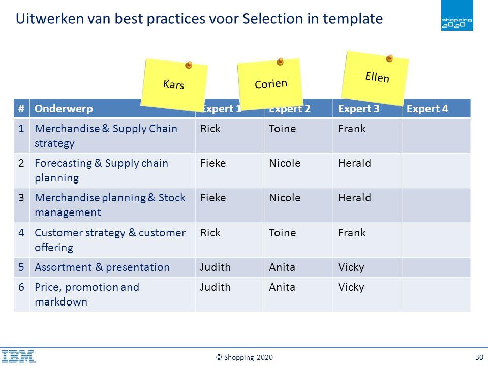 Uitwerken van best practices voor Selection in template © Shopping 202030 #OnderwerpExpert 1Expert 2Expert 3Expert 4 1Merchandise & Supply Chain strat