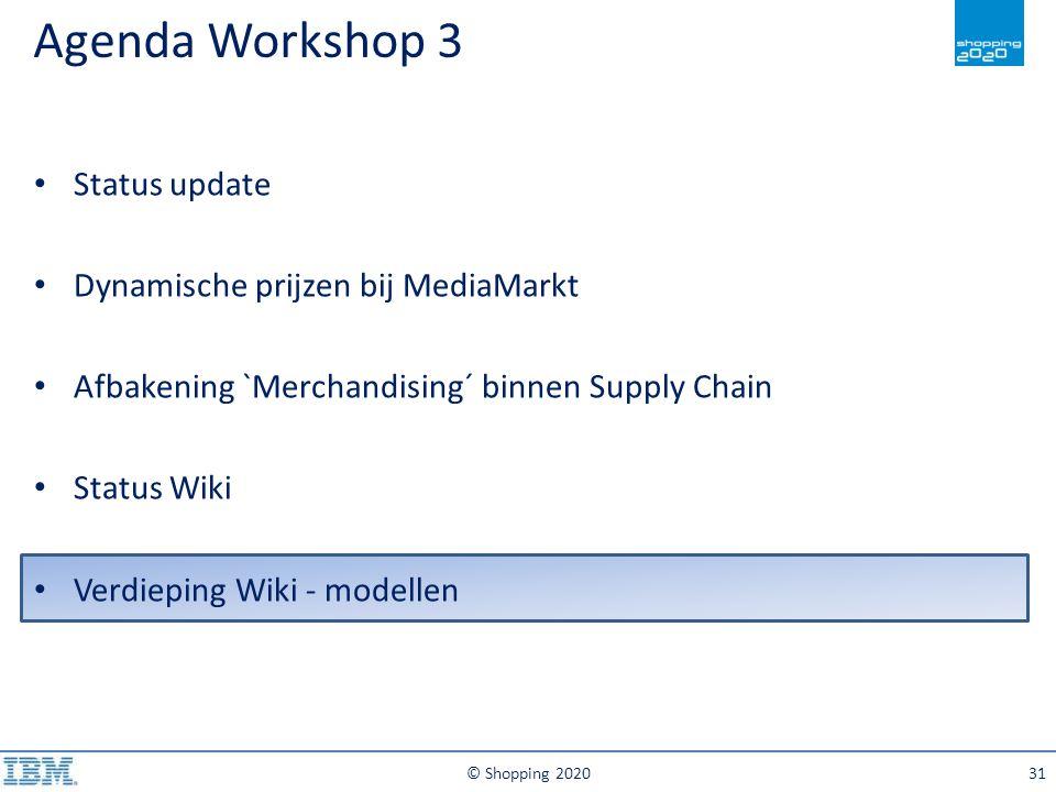 Agenda Workshop 3 © Shopping 202031 Status update Dynamische prijzen bij MediaMarkt Afbakening `Merchandising´ binnen Supply Chain Status Wiki Verdiep