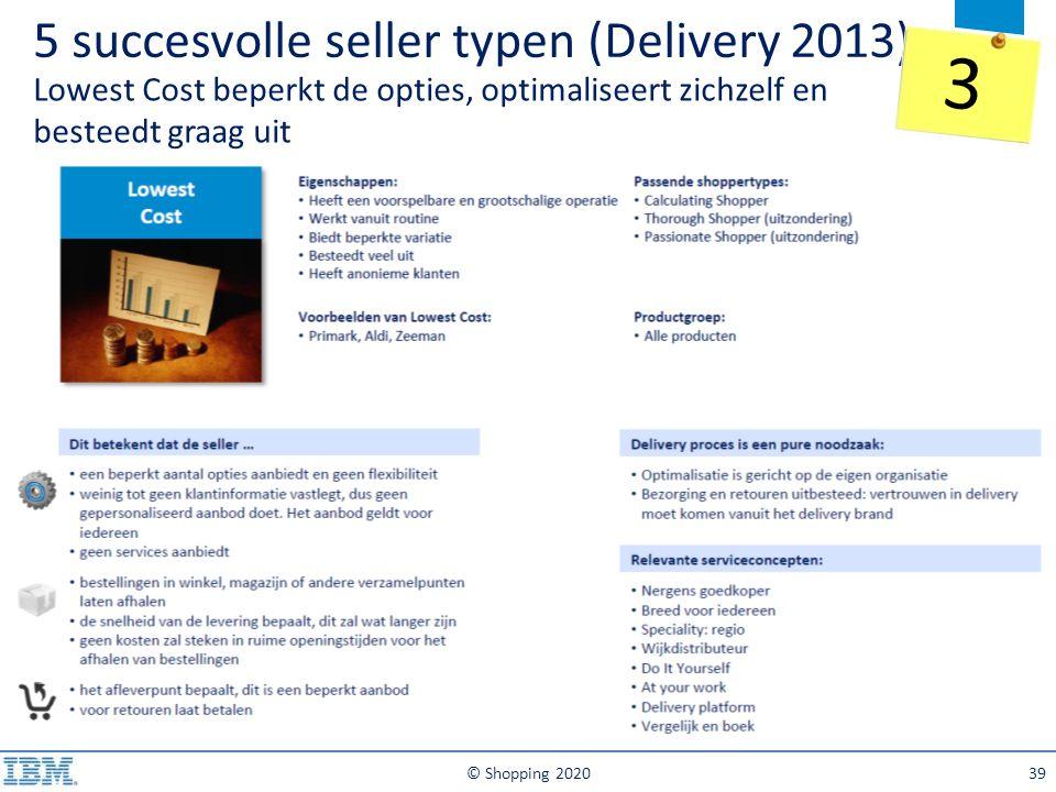 5 succesvolle seller typen (Delivery 2013) Lowest Cost beperkt de opties, optimaliseert zichzelf en besteedt graag uit © Shopping 202039 3
