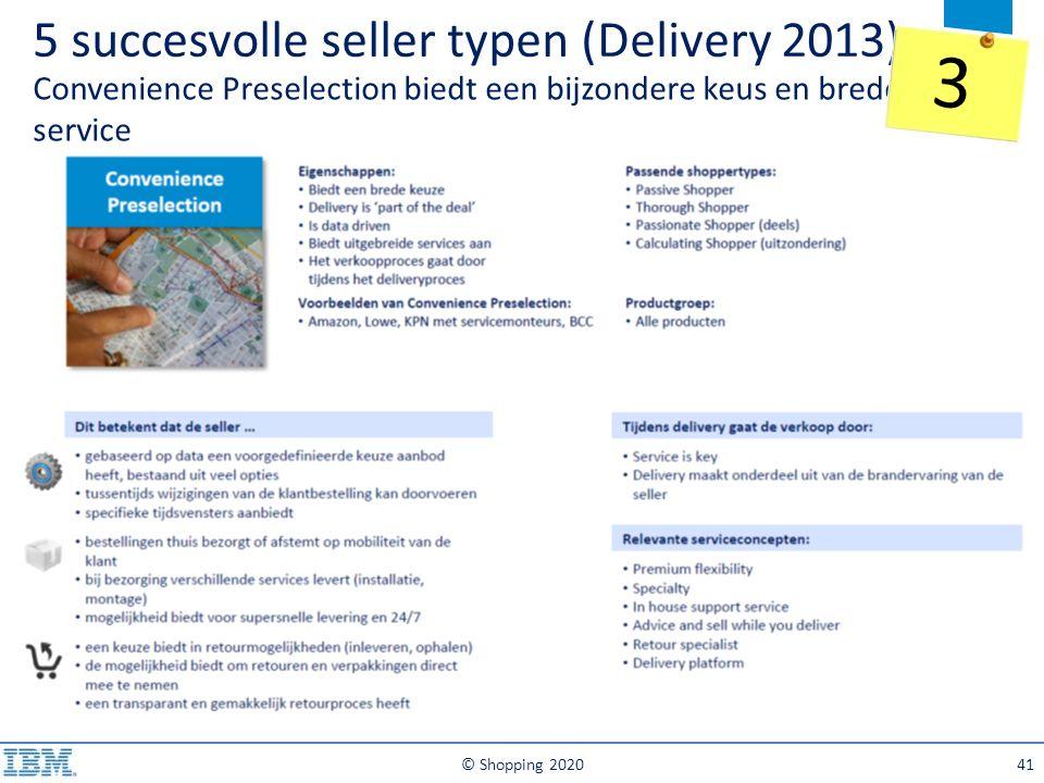 5 succesvolle seller typen (Delivery 2013) Convenience Preselection biedt een bijzondere keus en brede service © Shopping 202041 3