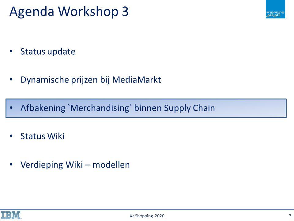 Agenda Workshop 3 © Shopping 20207 Status update Dynamische prijzen bij MediaMarkt Afbakening `Merchandising´ binnen Supply Chain Status Wiki Verdiepi