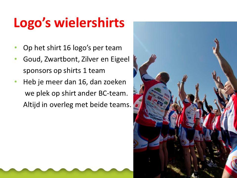 Logo's wielershirts Op het shirt 16 logo's per team Goud, Zwartbont, Zilver en Eigeel sponsors op shirts 1 team Heb je meer dan 16, dan zoeken we plek op shirt ander BC-team.