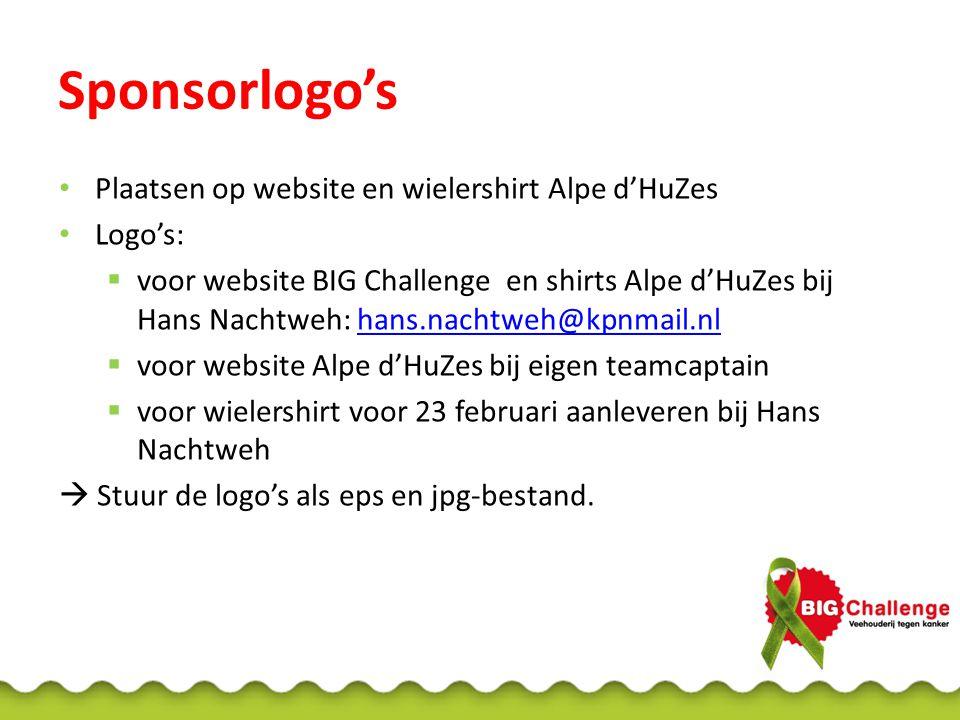 Sponsorlogo's Plaatsen op website en wielershirt Alpe d'HuZes Logo's:  voor website BIG Challenge en shirts Alpe d'HuZes bij Hans Nachtweh: hans.nach