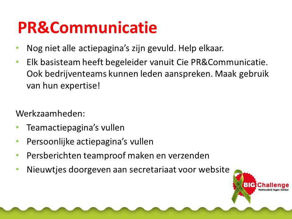PR&Communicatie Nog niet alle actiepagina's zijn gevuld. Help elkaar. Elk basisteam heeft begeleider vanuit Cie PR&Communicatie. Ook bedrijventeams ku