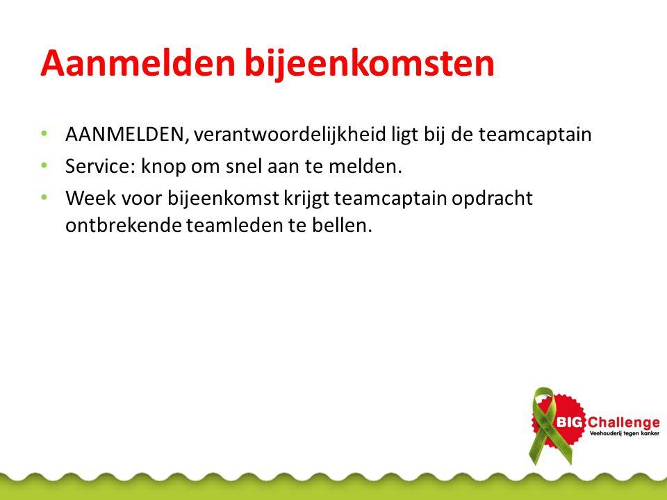 Aanmelden bijeenkomsten AANMELDEN, verantwoordelijkheid ligt bij de teamcaptain Service: knop om snel aan te melden. Week voor bijeenkomst krijgt team