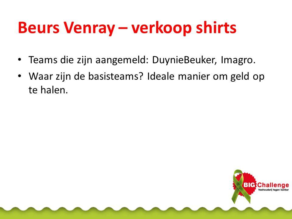 Beurs Venray – verkoop shirts Teams die zijn aangemeld: DuynieBeuker, Imagro. Waar zijn de basisteams? Ideale manier om geld op te halen.