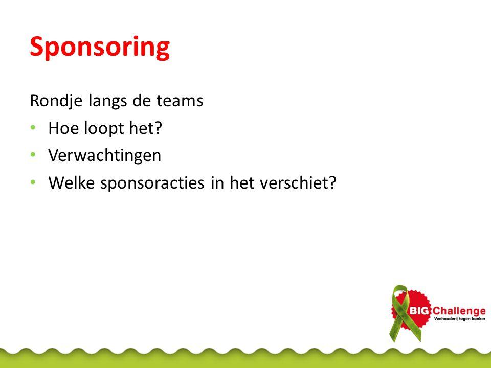 Sponsoring Rondje langs de teams Hoe loopt het? Verwachtingen Welke sponsoracties in het verschiet?